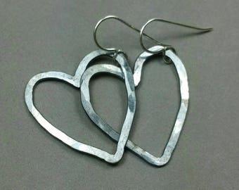 Open Heart Earrings, Dark Heart Earrings, Dangle Earrings,Fine Silver Heart Earrings, Handmade Heart Earrings Maggie McMane Designs