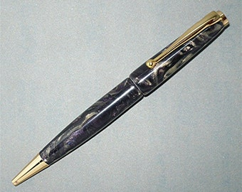 Handmade  Ballpoint Pen Purple Black Gold Polyester Resin