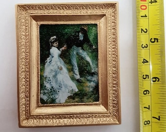 Renoir framed painting The Promenade - for 1:12 dollhouse