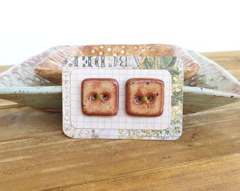 Square Stoneware Buttons in Glossy Shino Glaze - Set of 2