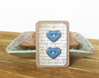 Stoneware Heart Buttons in Glossy Blue Glaze - Set of 2