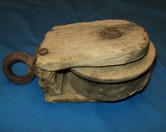 Primitive Single Wood Pulley With Iron Ring
