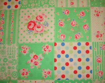 Retro Mint Patchwork 31376 60 Fabric by Lecien Flower Sugar Sweet Carnival