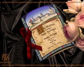 Medieval Wedding Program-matches the wedding invitation set Medieval Castle Codex illuminated Manuscript