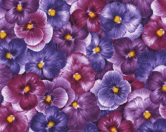 Viola Collection- Packed Pansies -Purple Pansies-Chong-a Hwang-Timeless Treasures-Spring-Cotton Fabric-By the yard- WindyRobinCotton.
