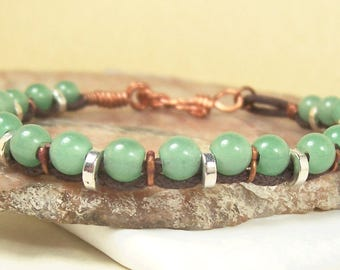 Mens Bracelet, Mans Bracelet, Green Bracelet, Aventurine Bracelet, Brown Bracelet, Cord Bracelet, Gemstone Bracelet, Copper Bracelet, Pewter