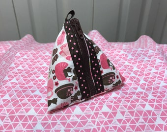 Baby Girl Kitty Triangle Zipper Pacifier Coin Pouch Pink Brown