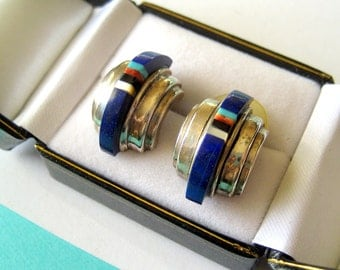 Zuni Sterling Silver and Multi-Gemstone Inlay Half Hoop Earrings