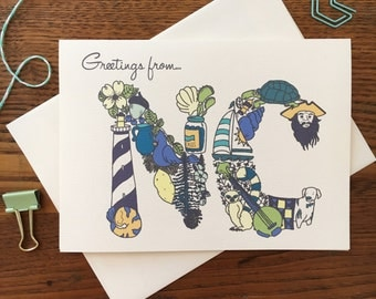 North Carolina Card. NC Themed Card. NC Stationery. Thank You Card. Tar Heel State. Blank Card. Single Card. Greeting Card. Travel Card