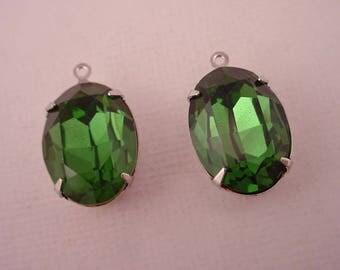 2 vintage Swarovski rhinestone glass green Tourmaline oval 18x13 silver  setting 1 ring charms
