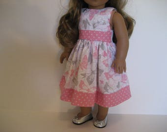 18 Inch Doll Clothes -  Pink Butterfly Dress with Hairbow made to fit dolls such as the American Girl and Maplelea doll clothes