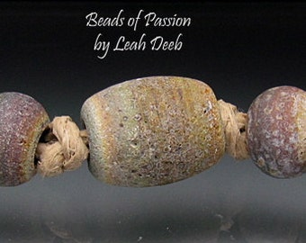 Handmade BHB Glass Beads of Passion Leah Deeb - 5pc Rustic Tie Dye Big Hole