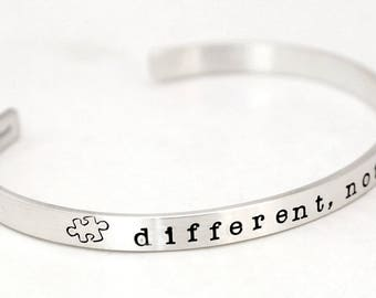 DIFFERENT, NOT LESS Autism Quote Cuff Bracelet - Sterling Silver Autism Bracelet - Autism Speaks - Autism Jewelry  - Free Shipping