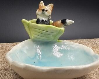 fox on a boat - trinket bowl porcelain original