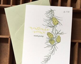 letterpress season's greetings larch card