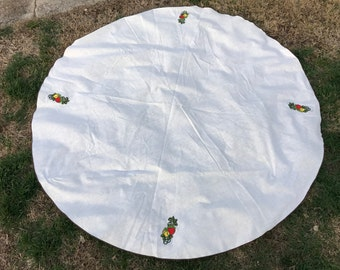 Vintage 1970's Era Round Linen Tablecloth with Applique Strawberries