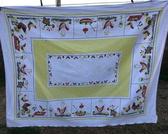 Vintage White with Yellow and Red Chicken Print Tablecloth