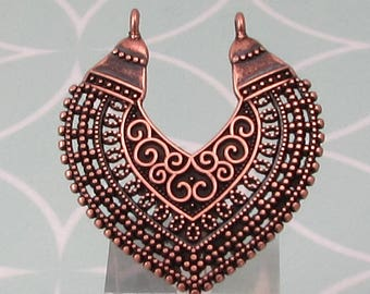 Boho Ethnic Filigree Pendant, Antique Copper, AC203
