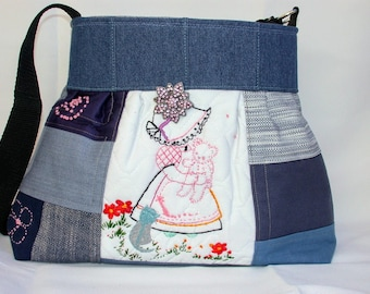 Denim Patchwork -Dutch doll Hand Embroidery -Teddy Bear -Cat-flowers -Handbag -adjustable-Messenger -Shoulder Bag- BagZGirl