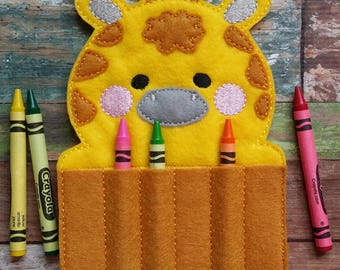 Giraffe Felt Crayon Holder * Crayon Holder * Coloring * Party Favor
