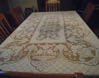 Large, intricate, beige, ecru, off white vintage lace tablecoth with flower bouquets table linens
