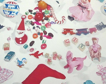 Vintage Christmas Wrapping Paper or Gift Wrap with Stocking Candy Toys Tea Set Dolls Train Blocks Ball Santa by Hallmark