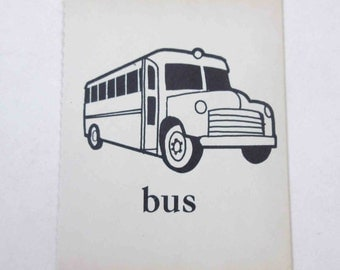 Vintage Children's Ivory School Flash Card with Picture and Word for Bus