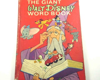 The Giant Walt Disney Word Book Vintage 1970s Children's Book by Golden Press