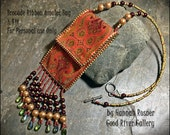 Easy Beading Project - Orange Wine and Olive Amulet or memory stick Ribbon Bag Seed Bead Necklace FULL KIT and INSTRUCTIONS