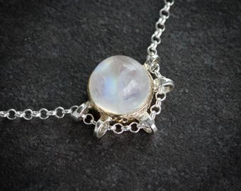 Rainbow Moonstone Necklace, Unique Necklace Designs with Moonstone Pendant, Gold Bezel Necklace, Ethereal Wedding Jewelry,  Artisan Necklace