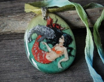 Amazing mermaid and seal in the water - Fused glass pendant - harbor seal- seal pup-