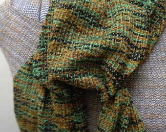Handwoven scarf - Olive Garden rayon chenille