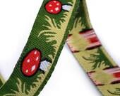 1/2'' Mushroom Green Woven Jacquard ribbon - Per Yard