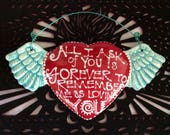 WInged Heart Ceramic Wall Art for Wedding, Anniversary or Birthday