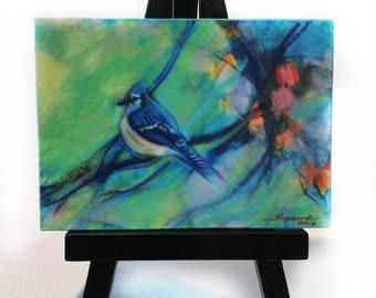 Spring Jay, aceo original, wood mounted, Easel and art, #Bird aceo #Aceo originals #Birds #Miniature art #Aetist trading cards #Art #Nature