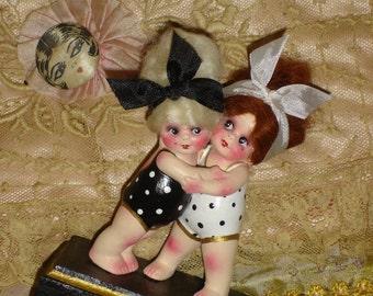 """Vintage Joined Pair Bisque Kewpie Doll Flapper Bathing Beauty """"Besties"""" Altered Art"""