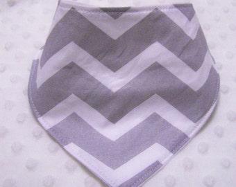 Grey Cheveron Pattern Baby Bandana Bib -- Drooler Bib--