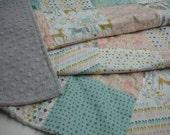 Kingdom Patchwork Minky Blanket 38 x 44 READY TO SHIP On Sale