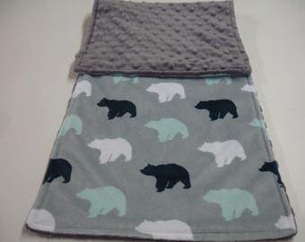 Bears Double Sided Minky Burp Cloth 10 x 26 READY TO SHIP