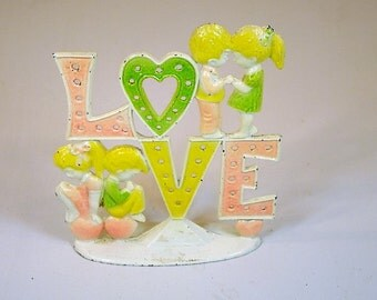 Vintage Earring Holder Vintage Jewelry Holder Love Jewelry Holder Metal Love Earring Holder Pastel Colors Puppy Love