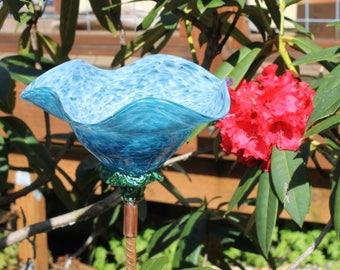 Aqua Teal Hand Blown Glass Flower Garden Art Sculpture Outdoor Decoration Garden Finial