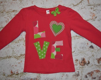 Girls size 3/4 CLEaRANCE * SaMPLE SaLE* REaDY 2 ShIP*  GIRLS Valentines Day LOVE tee shirt hot pink and green