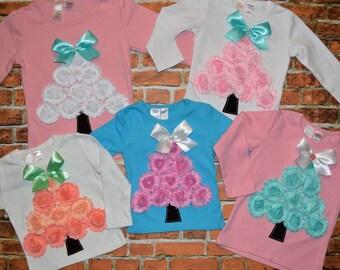 "Girls ""SHABBY CHIC HOLIDAYS"" collection Shabby Rose Christmas Tree tee shirt 6-12-18-24 mth 2-3-4-5-6-7-8 pink peach mint aqua metallic gold"