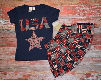 AMERICANA Girls Navy Bib Style Tee with skirt size 3/4   July 4 RED WhITe & BLUE  patriotic Ready to Ship!