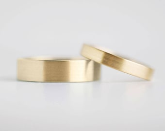 Brushed Finish Gold Wedding Band Set | 3mm and 5mm x 1.3mm gold rings | Rustic wedding bands 10k 14k 18k gold