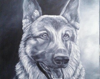 """Oil Painting German Shepherd Dog Pet Portrait 16""""x 20"""" Almost READY to SHIP"""