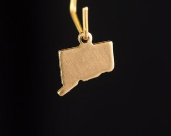 Raw Brass Tiny Connecticut Blank State Charm Drops 10x8mm (2) chr229SS