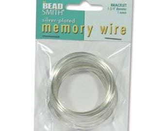 """Beadsmith Silver Plated Memory Wire 1 3/4"""" Diameter, 1 Ounce"""