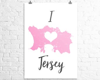 Map print 'I Love Jersey'
