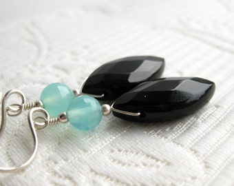 Sleek black onyx briolette earrings with aqua blue faceted chalcedony, sterling silver (Chamberlin)